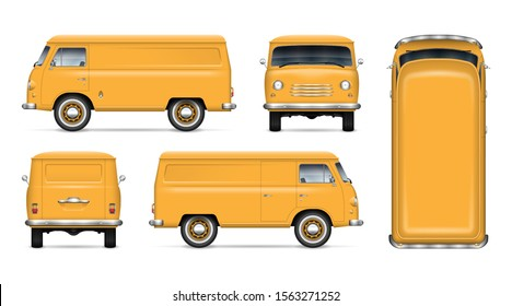 Old yellow van vector mockup on white background. Isolated minivan view from side, front, back and top. All elements in the groups on separate layers for easy editing and recolor