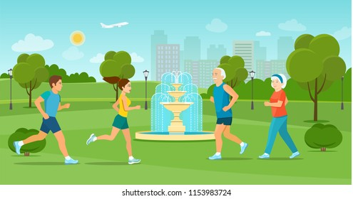 Old and young couple  run  in the park by the fountain.Summer landscape. Vector flat style illustration