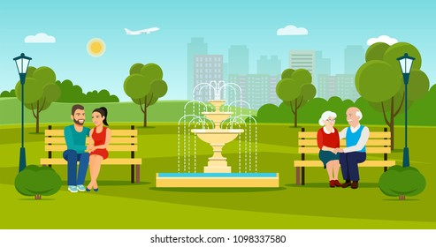 Old and young couple  sitting on bench  in the park by the fountain.Summer landscape. Vector flat style illustration