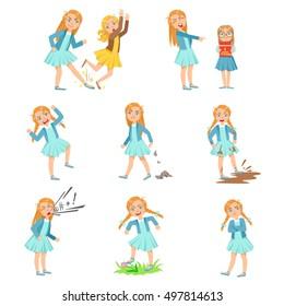 Older Girl Bullying Young Children And Behaving Badly Set