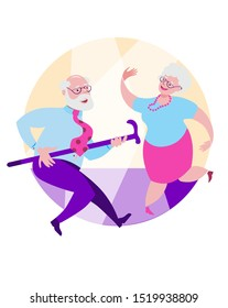 Older grandpa and grandma are dancing a happy dance. Vector illustration in flat style on round background.