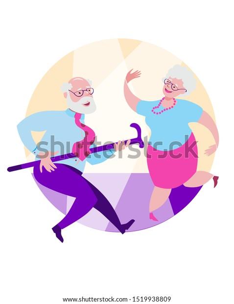 Older Grandpa Grandma Dancing Happy Dance Stock Vector Royalty Free 1519938809