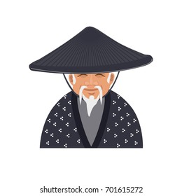 Older Japanese man in traditional conical hat. Vector illustration