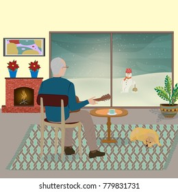 An older man in a Norwegian sweater plays a guitar in the living room facing his back, next to him  is a dog on the floor
