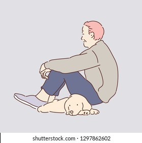 An older man is sitting on the floor and a puppy is lying next to him. hand drawn style vector design illustrations.