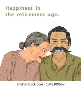 Older people aged in retirement are laughing happily. Illustration of grandpa and grandmom vector, smiling, cheerful, happy with facial wrinkles. Elderly husband and wife have a mustache and gray hair