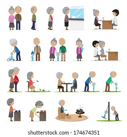 Older People In Different Situations - Isolated On White Background - Vector Illustration, Graphic Design Editable For Your Design