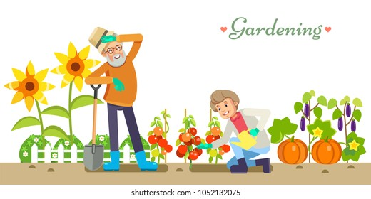 Older people life style vector flat  illustration gardening and pleasure enjoyment. Grandpa and Granny in the garden. White isolated background