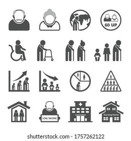 Older person icon set, Aging Society, aged society, elderly