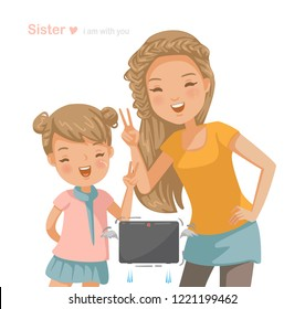older sister and sisters are shooting in the frame. The little girl and the younger sister together. Brotherhood, Hand sign, Keep trying, smile happily. Vector cartoon illustration isolated on white