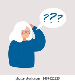 Older woman has Alzheimer's disease and a question above her in the speech bubble. Loss of short-term memory, difficulty concentrating, problems planning and pondering things are symptoms of dementia.
