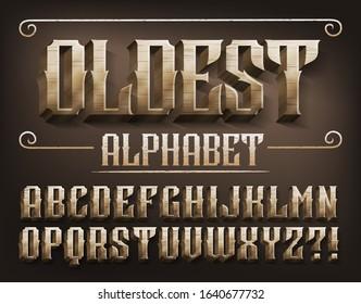 Oldest alphabet font. 3D metal ancient letters. Stock vector typescript for your design.