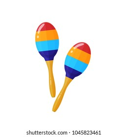 Oldest shock-noise musical instrument is maracas, a kind of rattle. Carnival, masquerade, party, festive accessories. Modern decorative maracas, musical instrument. Vector illustration isolated.