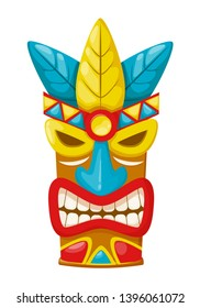 Oldest traditional colorful ethnic tribal mask, hawaii accessoires. Carnival masquerade with mask aztec, on islands, festival. Holiday, vacation with costumes, music. Vector illustration.