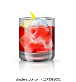 Old-fashioned cocktail isolated on the white background. Vector illustration of the hard beverage. Alcoholic drink with whiskey, bitters, lemon peel and ice cubes.