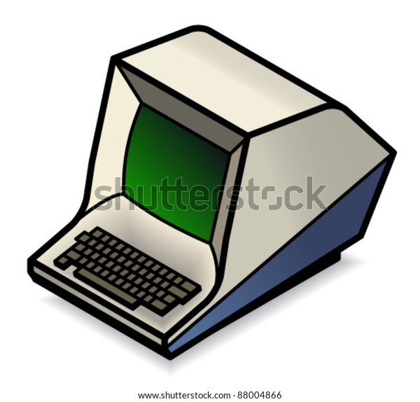 Oldfashioned Computer Terminal Green Crt Screen Stock Vector