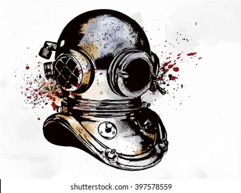 Old-fashioned diving equipment, vector hand drawn illustration