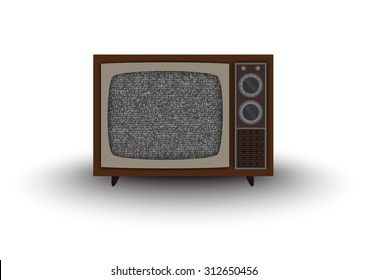 Old-fashioned four legged TV -colorful set isolated on white background.