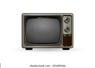 Old-fashioned or retro TV. Vintage black and white television set. Hipster style tv.