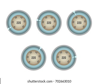 Old-fashioned speedometer with numbers in circle and pointer
