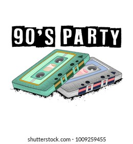 Old-fashioned tape audio cassette, symbol of retro music. Analog media for recording and listening to stereo music. 80's party,  pop music party 1990, vintage night. Easy editable poster design.