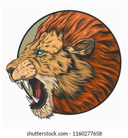 Old-fashioned tattoo. A lion with an open mouth.