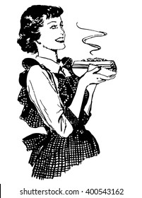 Old-fashioned vector housewife with dish