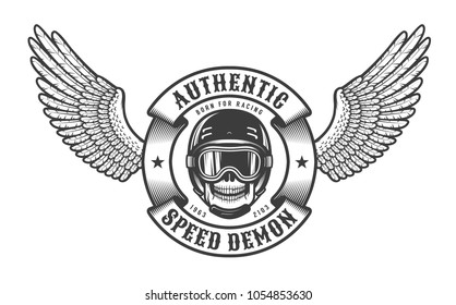 Oldschool  emblem with wings, skull in racing helmet and round heraldic ribbon.