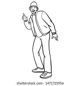 Oldschool hip hop breakdancer in bboy stand. raises his finger in the air. character design, outline, skech.