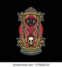 oldschool hourglass tattoo vector design