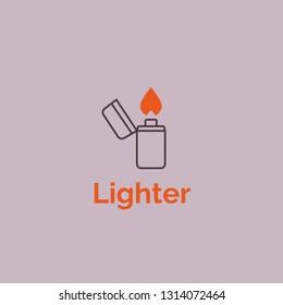 Oldschool lighter logo. Vector illustration. Lighter outline icon with fire. Lighter fire flame simple line.
