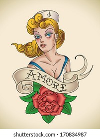 Old-school Navy tattoo of a pinup lady with a red rose. Editable vector illustration.