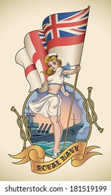 Old-school navy tattoo of a pin-up lady with the Royal Navy flag in her hand. Editable vector illustration.
