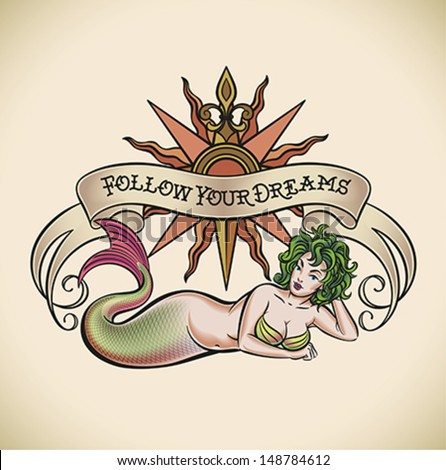 Oldschool Styled Tattoo Green Hair Mermaid Stock Vector Royalty