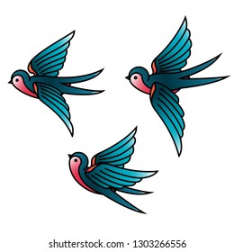 Oldschool Traditional Tattoo Vector Birds. Flying swallows