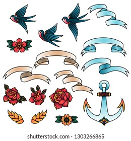 Oldschool Traditional Tattoo Vector Elements. Birds, flowers, ribbons.