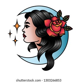 Oldschool Traditional Tattoo Vector Girl with Rose and Moon