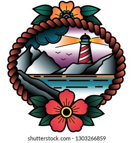 Oldschool Traditional Tattoo Vector Lighthouse in a Sunset