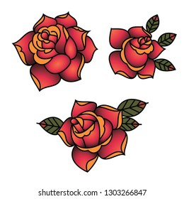 Oldschool Traditional Tattoo Vector Red Roses with leaves