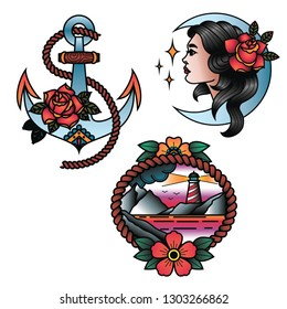 Oldschool Traditional Tattoo Vector Set. Girk, Anchor and Lighthouse