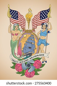 Old-school US Navy tattoo of a sensual pin-up sailor and a mermaid with the flags in their hands. Editable vector illustration.