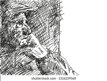 Oldster in a cap looks out the window. Portrait of a lonely old man. Pencil sketching. Academic drawing. Black and white illustration. Vector.