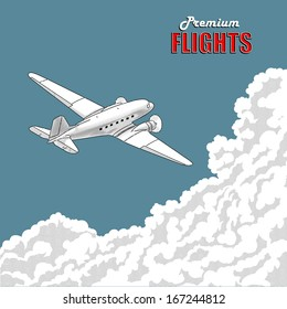 Old-time aircraft flying over clouds, engraving print. Vector illustration.