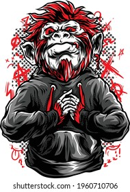 Oldy Monkey in T-Shirt Vector