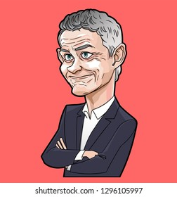Ole gunnar solskjaer caricature vector with layers