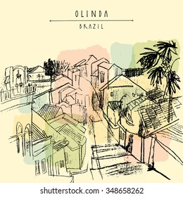 Olinda, Pernambuco, Brazil. Above view of old town. Hand drawn vintage postcard. Vector illustration