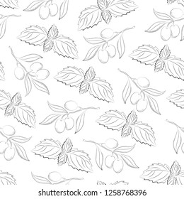 olive and bazilik food ink seamless vector pattern