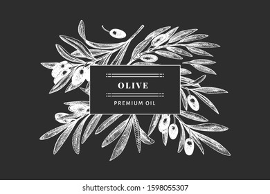 Olive branch design template. Hand drawn vector food illustration on chalk board. Engraved style mediterranean plant. Retro botanical picture.