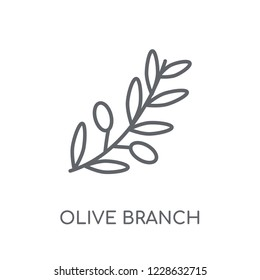 Olive Branch linear icon. Modern outline Olive Branch logo concept on white background from Religion-2 collection. Suitable for use on web apps, mobile apps and print media.