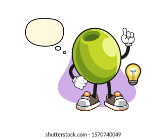 Olive get an idea cartoon. Mascot Character vector.